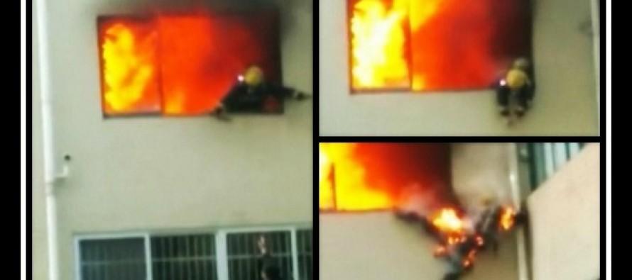 Φλεγόμενος πυροσβέστης πήδηξε από παράθυρο για να σωθεί από τη φωτιά!