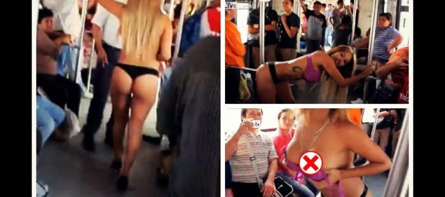 """Μεξικανή καλλονή τα """"πέταξε όλα"""" μέσα στο βαγόνι του Μετρό!"""