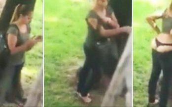 Κοπέλα σε πάρκο προσπαθεί να βγάλει φωτογραφία τα «χαρίσματα» της!