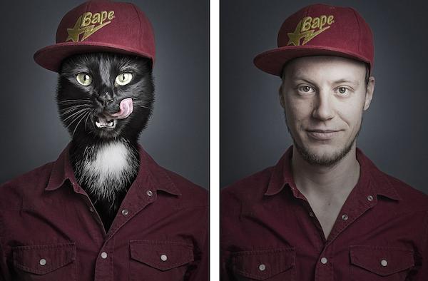 Γάτες ποζάρουν ντυμένες σαν τα αφεντικά τους