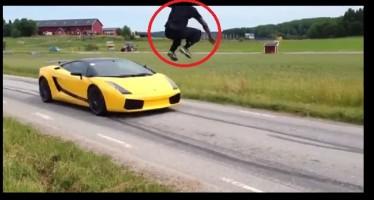 VIDEO: Πήδηξε πάνω από μια Lamborghini που πήγαινε με 130 km/h