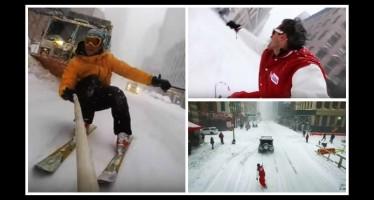 Youtuber έκανε snowboard στην χιονισμένη Νέα Υόρκη!