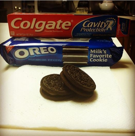 Oreo and toothpaste