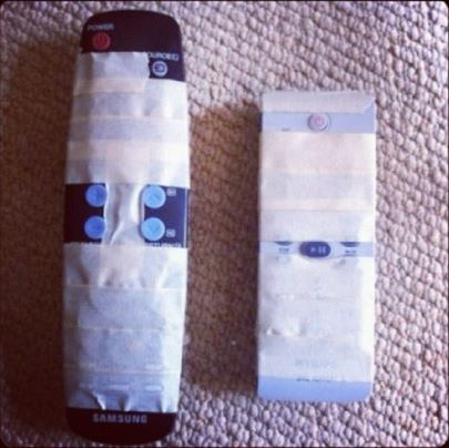 TV remote control and duct tape