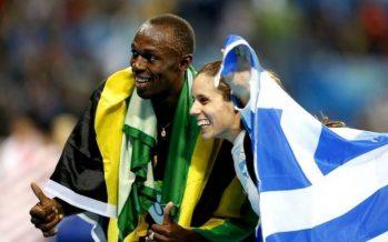 Στεφανίδη και Μπολτ πανηγύρισαν μαζί τα μετάλλιά τους! (pics)