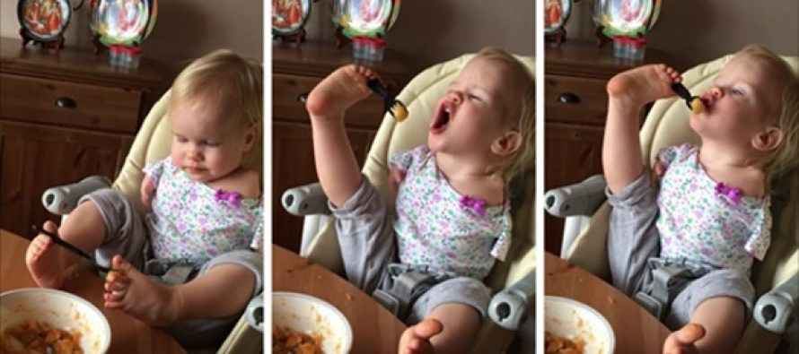 Κοριτσάκι γεννήθηκε χωρίς χέρια και έμαθε να τρώει μόνο του με τα πόδια!